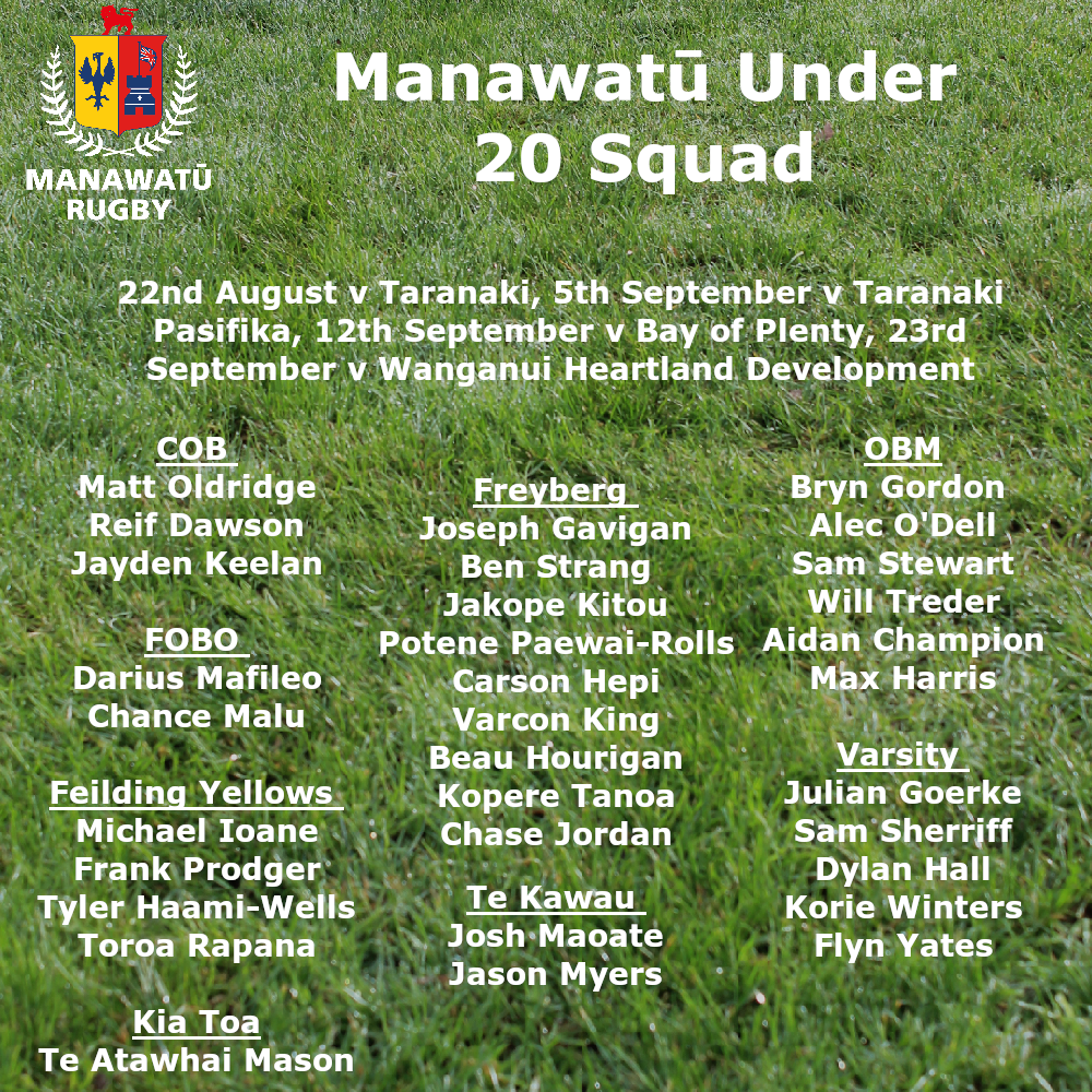 Manawatu Under 20s Confirmed