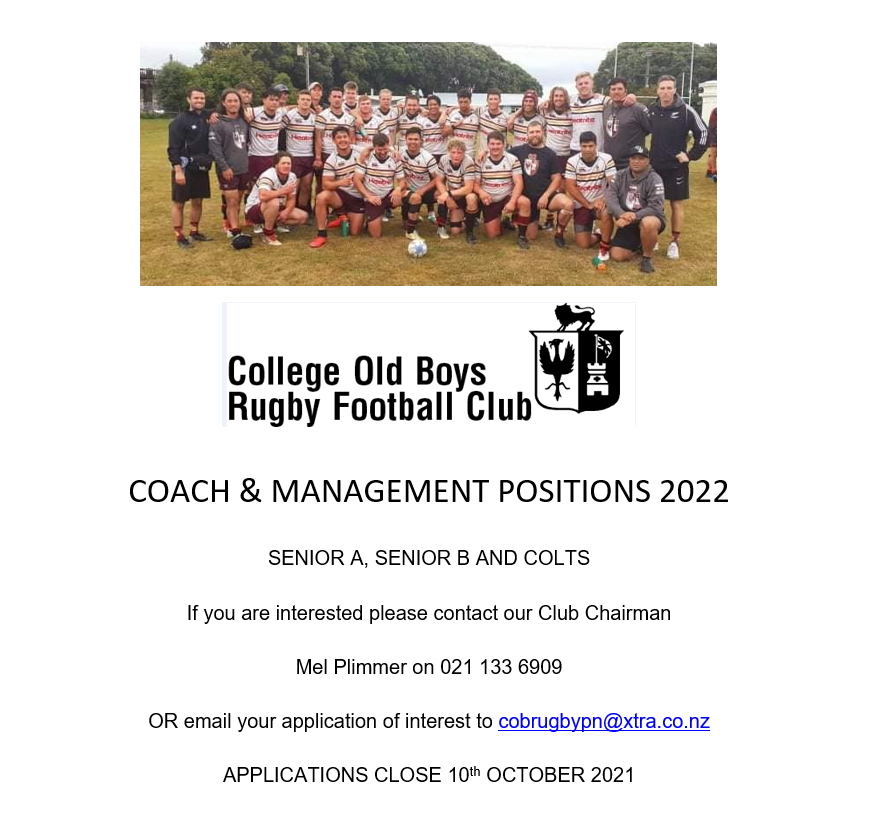 College Old Boys Coaching Vacancy